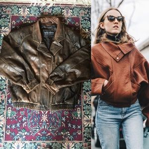 80s Wilson Leather Brown Cropped Jacket
